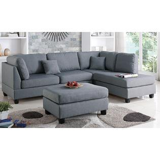 Pistoia 3 Pieces Sectional Sofa With Ottoman Upholstered In Fabric