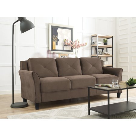 "Lifestyle Solutions Taryn 78.75"" Curved-Arm Sofa, Brown"