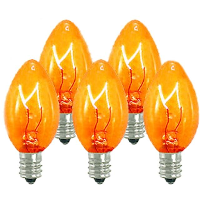 Queens of Christmas WL-C7-O Orange / Amber Dimmable C7 E12 Base Incandescent Replacement Bulbs - Pack of 25