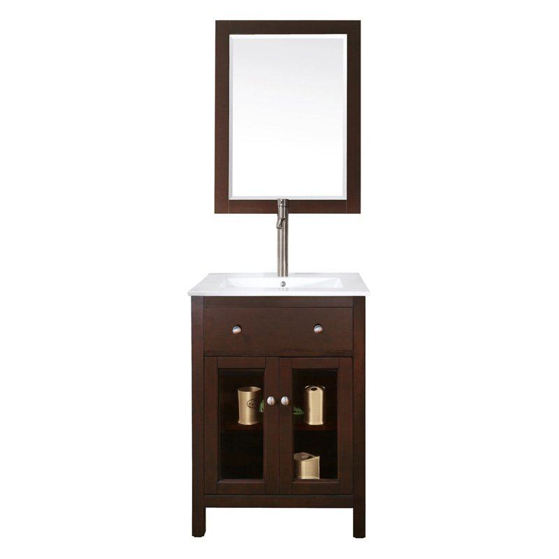 Avanity Lexington 24-Inch Vanity in Light Espresso Finish w/ Integrated Vitreous China Top