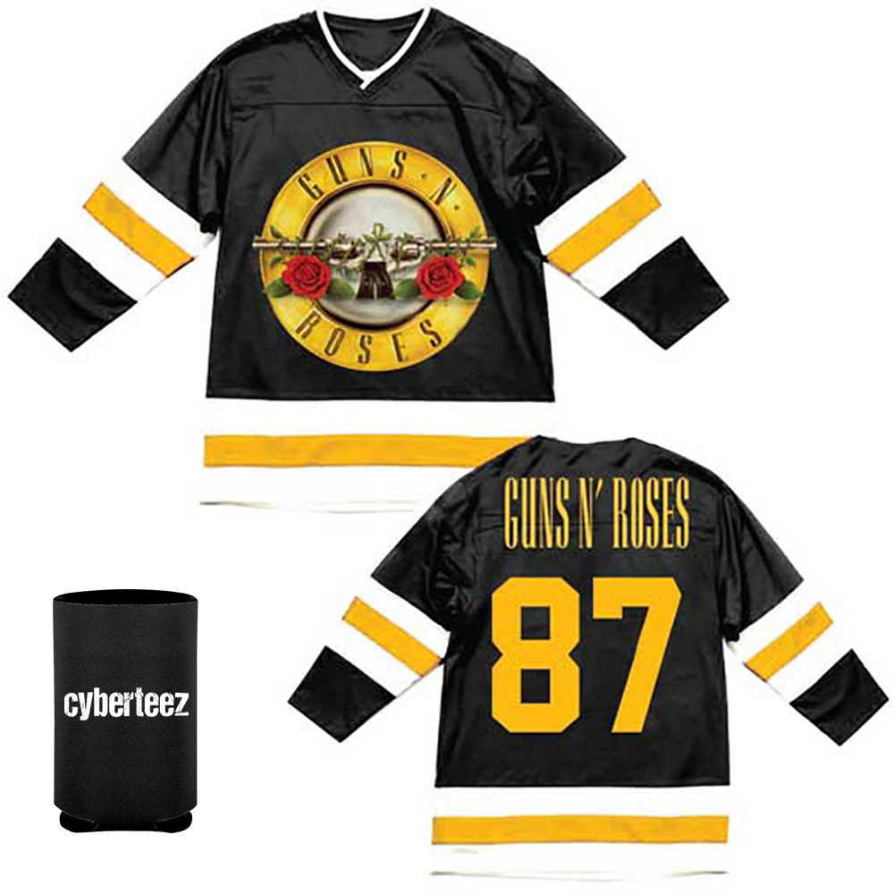 Guns N Roses T-Shirt Bullet Seal Logo '87 Hockey Jersey + Coolie (M)