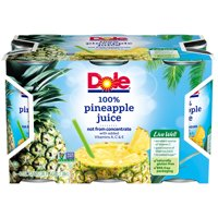 (2 pack) DOLE 100% Pineapple Juice 6-6 fl. oz. Cans