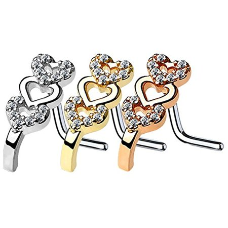 BodyJ4You 3PC Nose Ring L-Shape Stud 16G Paved CZ Hearts Steel Nostril Screw Women Piercing