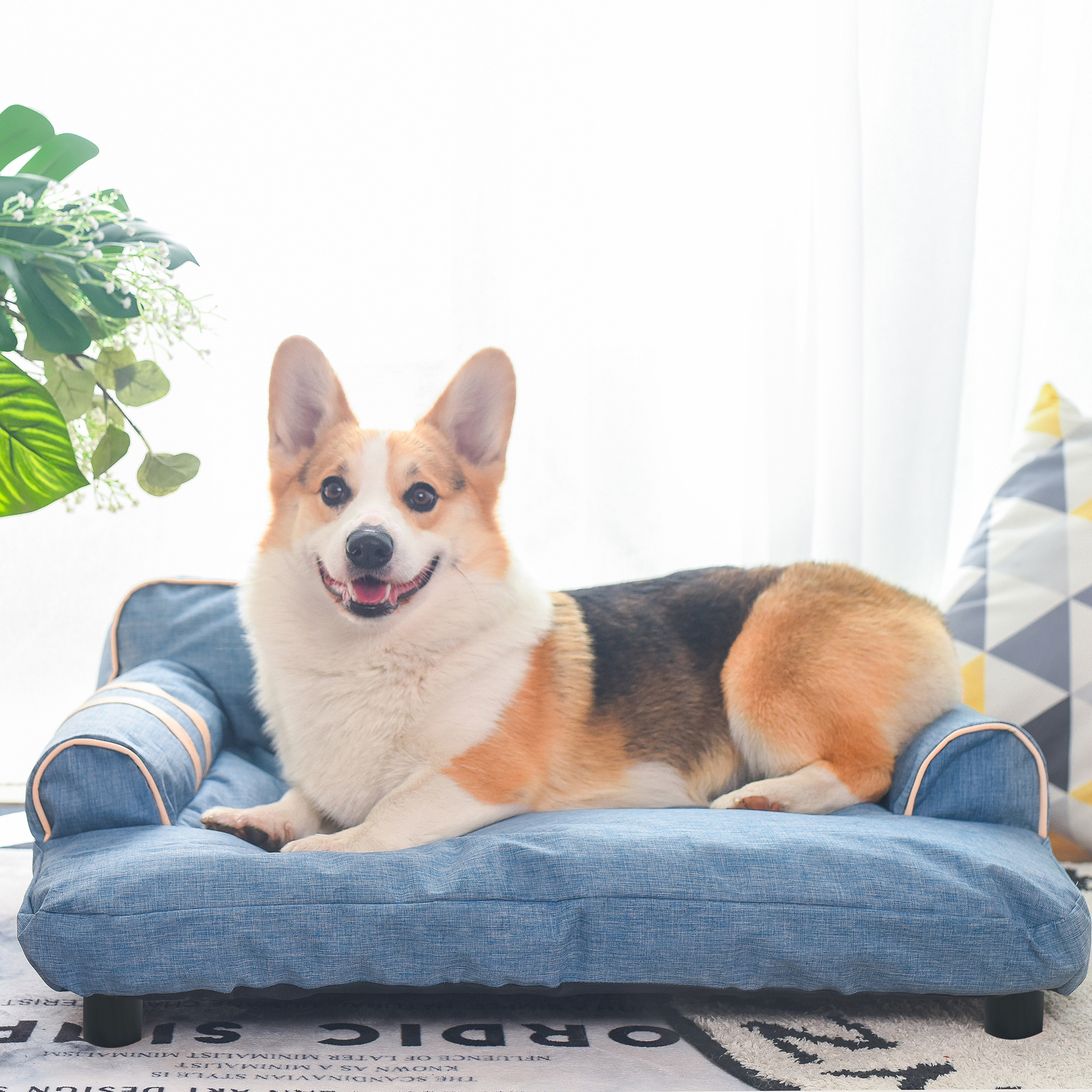 Pet Dog Bed Deluxe Oxford Fabric Large Lounge Dog Sofa W Adjustable Backrest And Armrest Sturdy Scratch Resistant Orthopedic Dog Bed For Elderly Dogs Or Puppies Blue 110lbs S983 Walmart Com Walmart Com