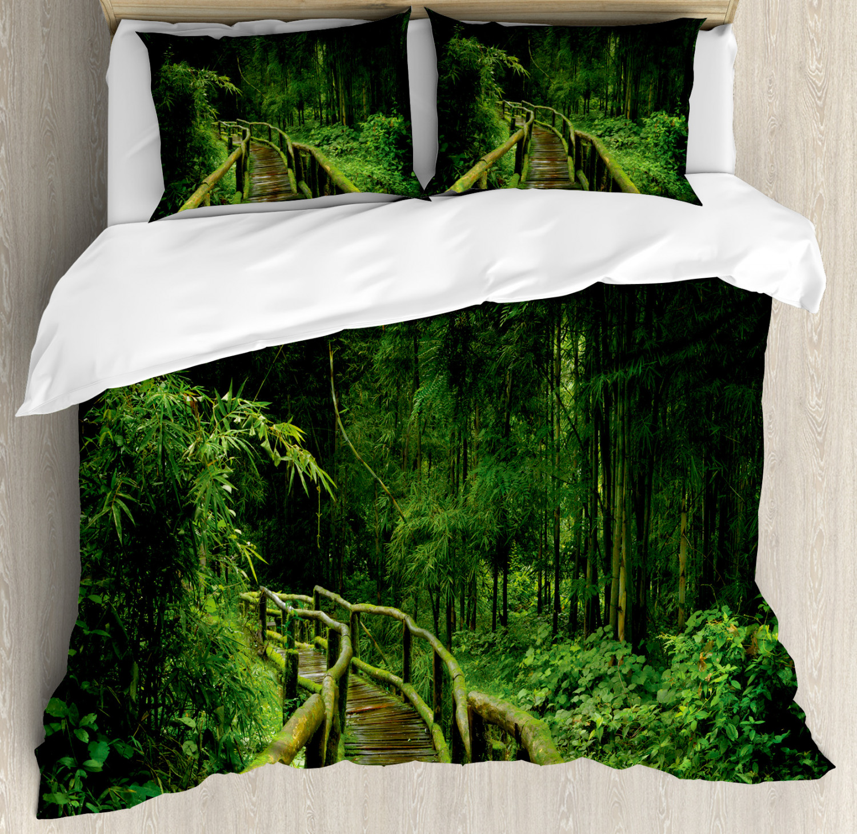 Jungle Duvet Cover Set Freshness Tropical Thailand Forest With Wooden Bridge Foliage Meditation Calm Landscape Decorative Bedding Set With Pillow Shams Green By Ambesonne Walmart Com Walmart Com