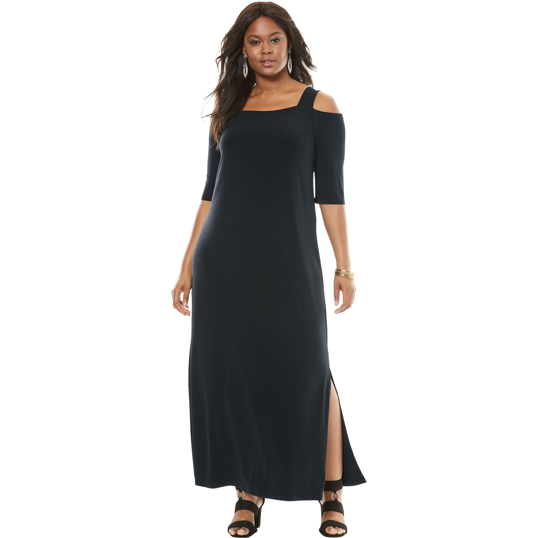 Roaman\'s - Plus Size Cold-shoulder Maxi Dress - Walmart.com