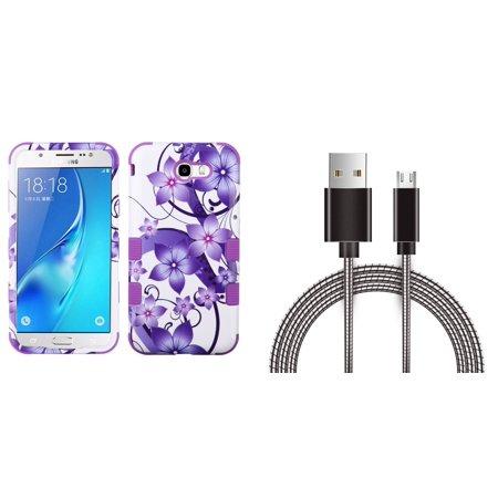 Samsung Galaxy J7 Sky Pro 4G LTE - Bundle: TUFF Series [Military Grade - MIL-STD 810G-516.6] Case (Purple Flower), Metal [Aluminum Connectors] Data Transfer Charging Micro USB Cable, Atom Cloth