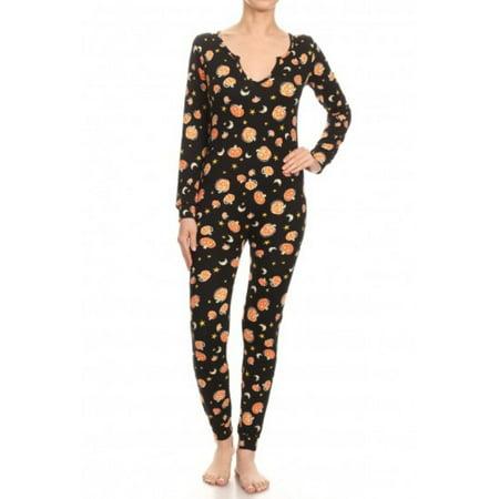 Carters Halloween Pajamas Skeleton (LAVRA Women's Fleece Lined Halloween One Piece Pajamas Graphic Print Bodysuit Costume Union)