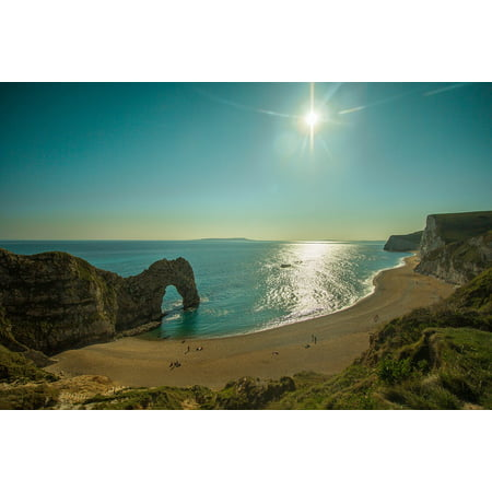 Peel-n-Stick Poster of Limestone Arch Beach Reef Cave Rock Durdle Door Poster 24x16 Adhesive Sticker Poster