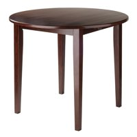 Winsome Wood Clayton Round Drop Leaf Dining Table, Walnut Finish