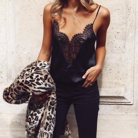 Summer Women Lace Trim V Neck Sleeveless Tank Top T-Shirts Vest Loose Blouse Shirts Camisole Black S