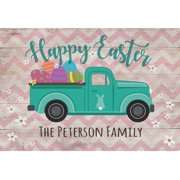 """Happy Easter Vintage Pickup Truck Personalized Doormat with Custom Name Printing and Non-Slip Rubber Backing, Outdoor/Indoor, 18"""" x 27"""""""