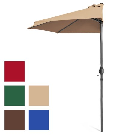 Best Choice Products 9ft Steel Half Patio Umbrella for Backyard, Deck, Garden w/ Crank Mechanism, UV- and Water-Resistant Fabric - Tan