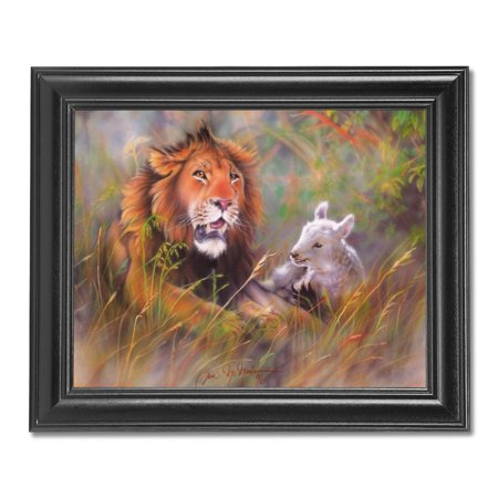 Lion with Lamb Laying in Grass Wall Picture Black