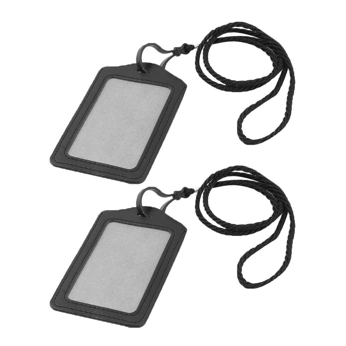 Unique Bargains 2 Pcs School Nylon Neck Cord String Lanyard Vertical ID Badge Holder Black
