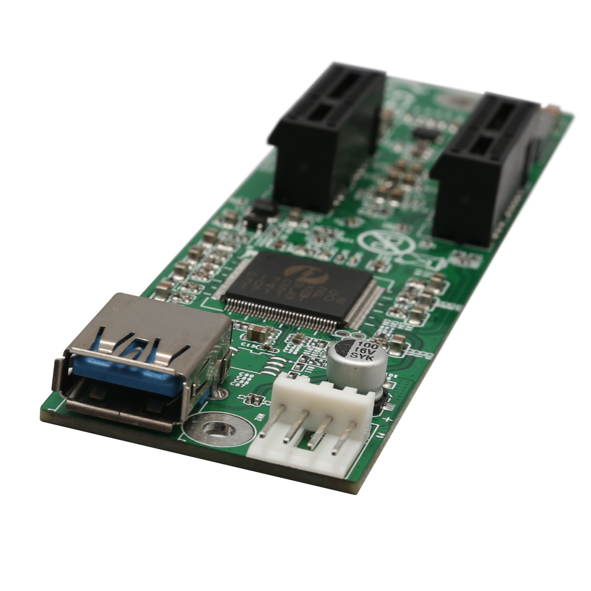 IOCrest 1 to 2 Ports PCI-E x1 Extension Board Switch Multiplier Hub Riser Card with USB 3.0 Cable
