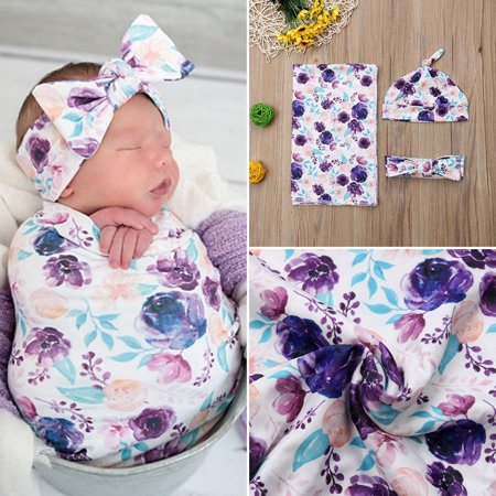Newborn Baby Floral Snuggle Swaddling Wrap Blanket Sleeping Bag Swaddle 3Pcs