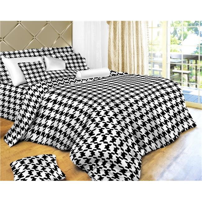 Dolce Mela DM498Q Houndstooth Check Luxury 6 Piece Duvet Cover Set, Queen