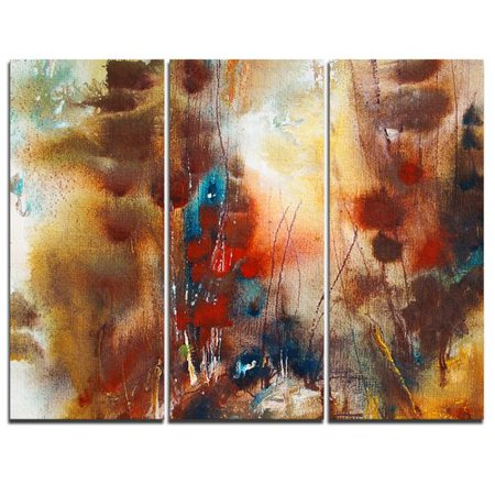 (Design Art Artistic Brown - 3 Piece Painting Print on Wrapped Canvas Set)