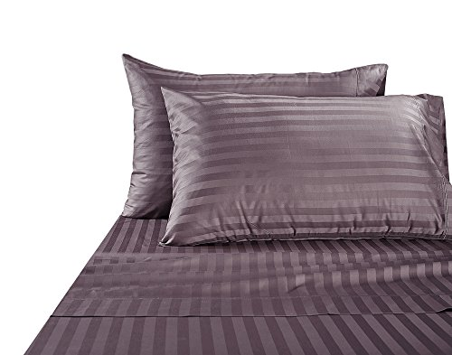 1000Thread Count New Egyptian Cotton Fitted Sheet US King Size Dark Grey Striped