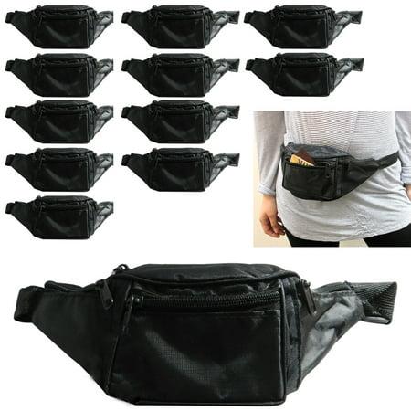 - 12 Fanny Pack Adjustable Waist Pouch Utility Bag Belt Hip 4 Pocket Travel Sport