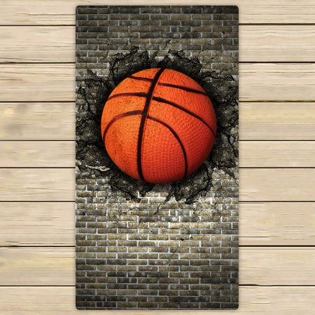 - YKCG Sports Retro Basketball Embedded in a Brick Wall Hand Towel Beach Towels Bath Shower Towel Bath Wrap For Home Outdoor Travel Use 30x56 inches