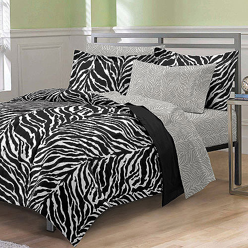 Cute My Room Zebra Complete Bed in a Bag Bedding Set Black White