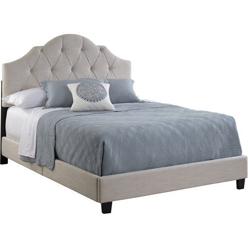 Home Meridian International All-N-1 Fully Upholstered Tuft Saddle Queen Bed, Cream