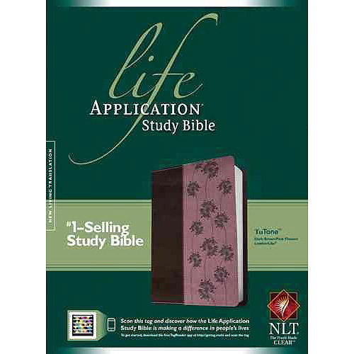 Life Application Study Bible: New Living Translation, Dark Brown / Pink Flowers TuTone, LeatherLike