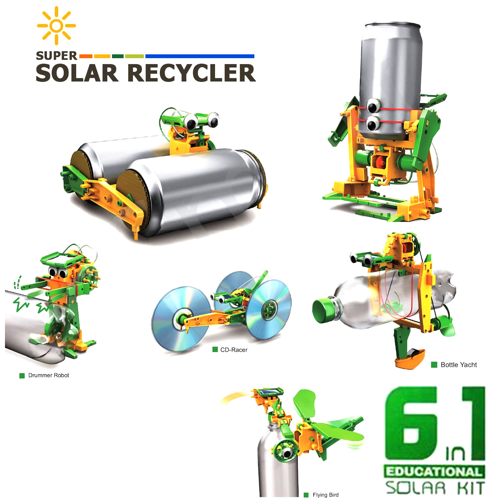 6-in-1 DIY Assemble Educational Solar Power Transformers Robot by