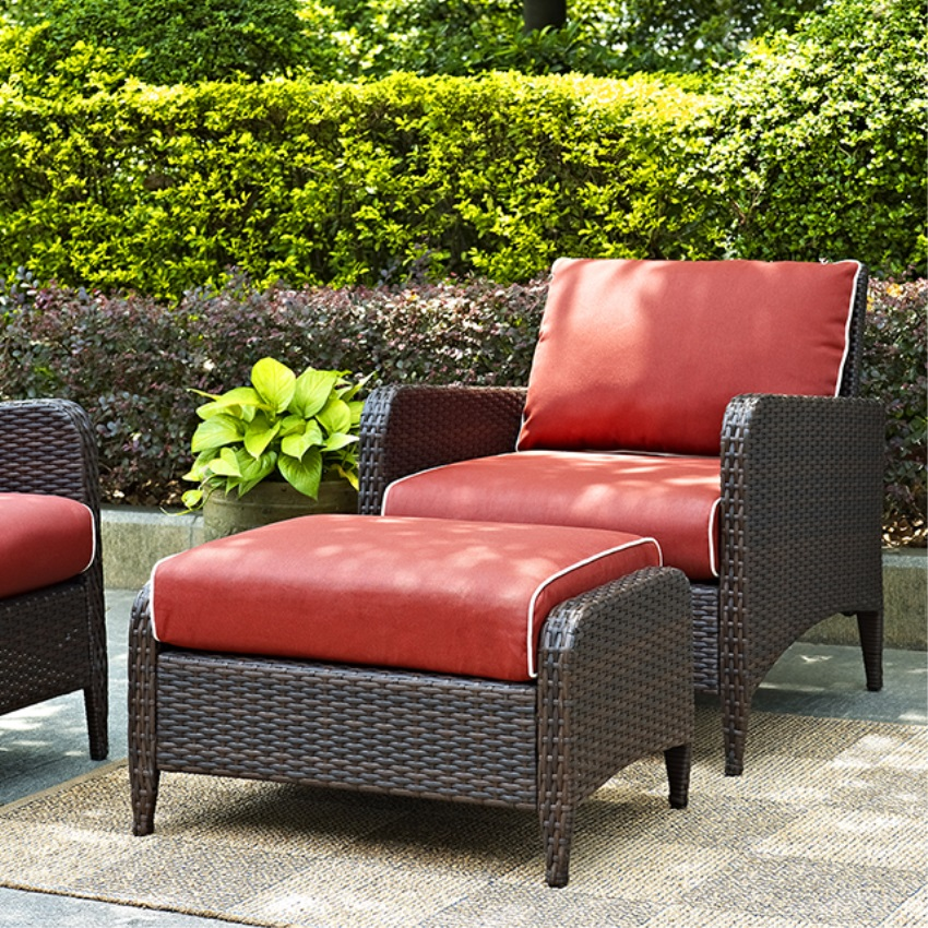 KIAWAH 2 PIECE OUTDOOR WICKER SEATING SET WITH SANGRIA CUSHIONS - ARM CHAIR WITH OTTOMAN