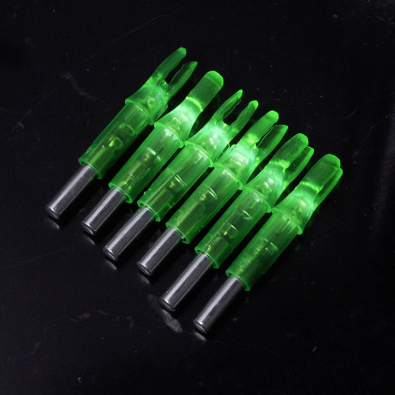 6PCS Shooting Archery Lighted Nock Compound Bow LED Arrow Nock, Green by
