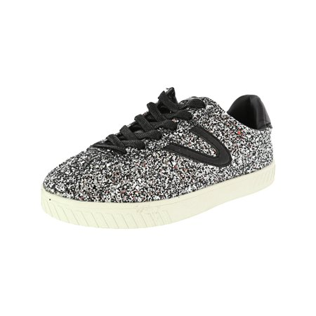 Tretorn Women's Camden 5 Glitter Ankle-High Fashion Sneaker - 5.5M - Silver Multi / Black / Black (Platform Shoes Yellow)