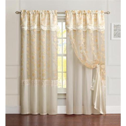 VCNY Agnes Curtain Panel with Attached Double Valance & Backing 55x90-Gold