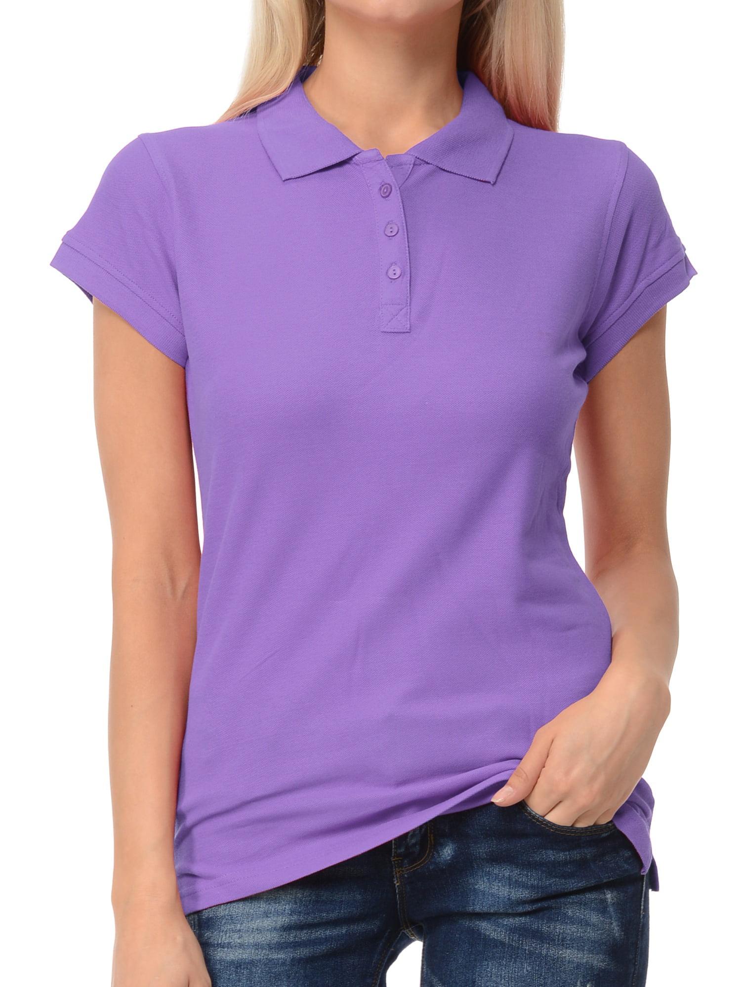 Basico Women Junior's Short Sleeve Slim Fit  Polo Shirt  100% Cotton