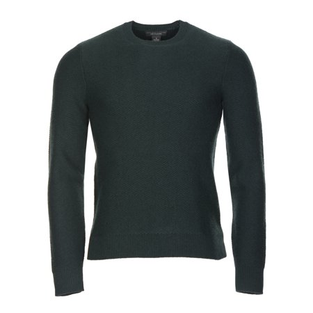 Bloomingdales All Cashmere Crewneck Herringbone Sweater Hunter Green Small