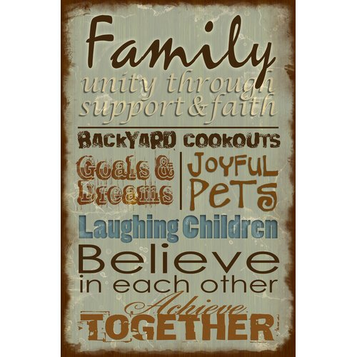 HDC International 'Family Plaque' Textual Art on wrapped canvas