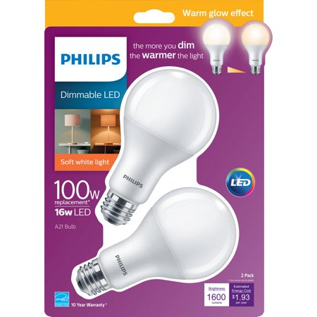- Philips 100W Equivalent Soft White A21 Dimmable Warm Glow LED Light Bulb (2-Pack)