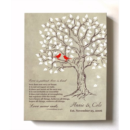MuralMax Personalized Anniversary Family Tree Artwork - Love is Patient Love Is Kind Bible Verse - Unique Wedding & Housewarming Canvas Wall Decor Gifts - Color Beige # 1 Size -