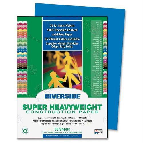 "Riverside Groundwood Construction Paper - 12"" X 9"" - Blue (103600)"