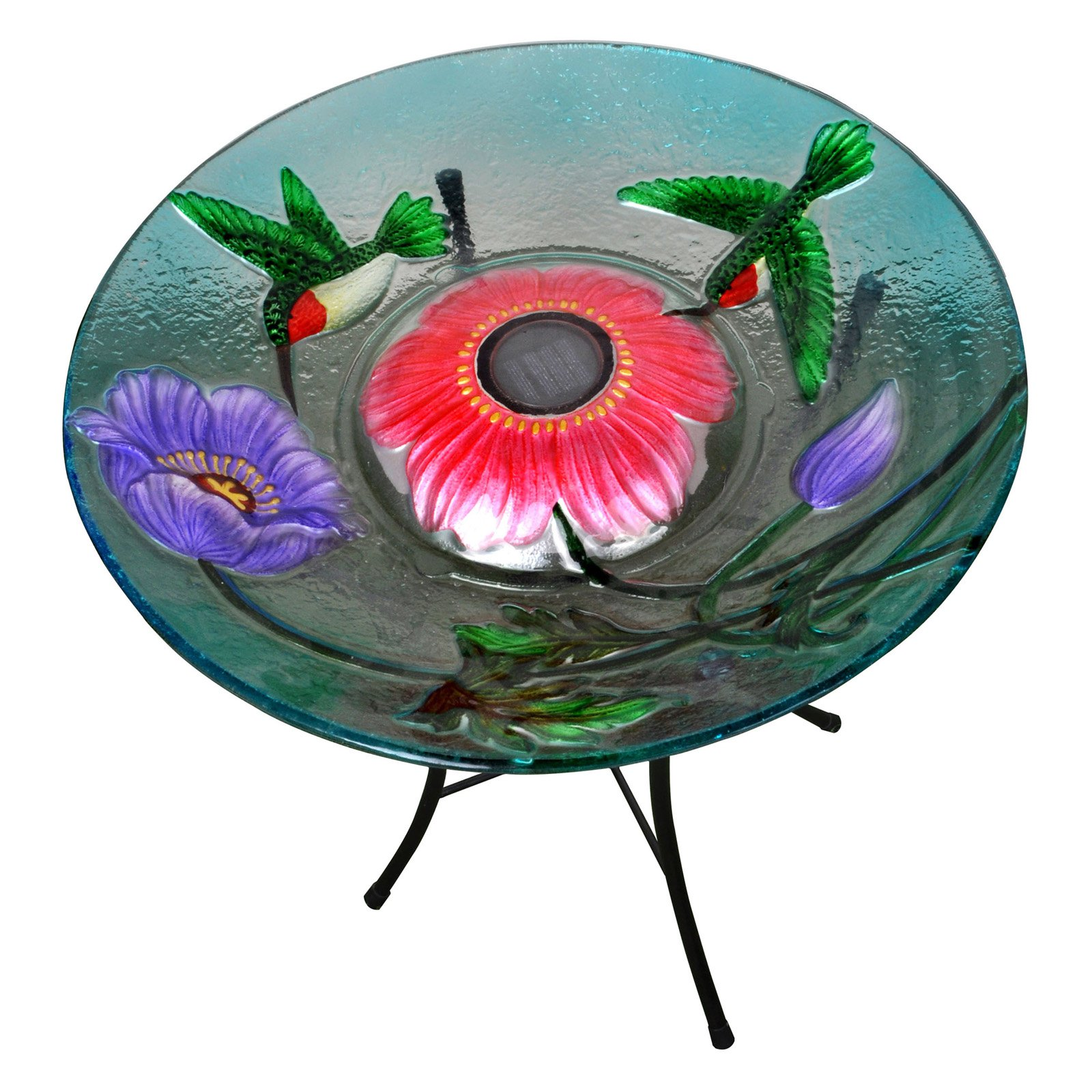 Peaktop Outdoor 18-Inch Hummingbird Fusion Glass Solar Birdbath by Teamson Design