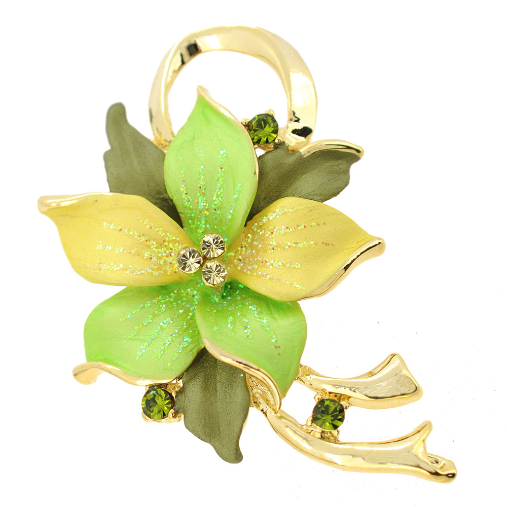 Green Poinsettia Christmas Star Swarovski Crystal Flower Pin Brooch Pendant by