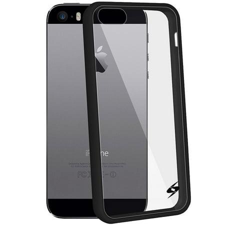 iPhone 5 5S SE Shockproof Clear Case Black Trim Bumper Premium HD Tempered Glass Combo (Nexus 5 Bumper Case Black)