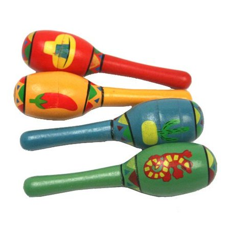 Mini Wooden Fiesta Maracas Assorted color and design (1 dz)