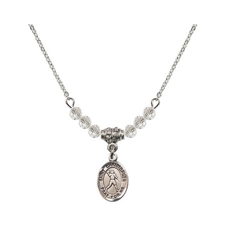 18-Inch Rhodium Plated Necklace with 4mm White April Birth Month Stone Beads and Saint Christopher/Football Charm](Football Bead Necklace)