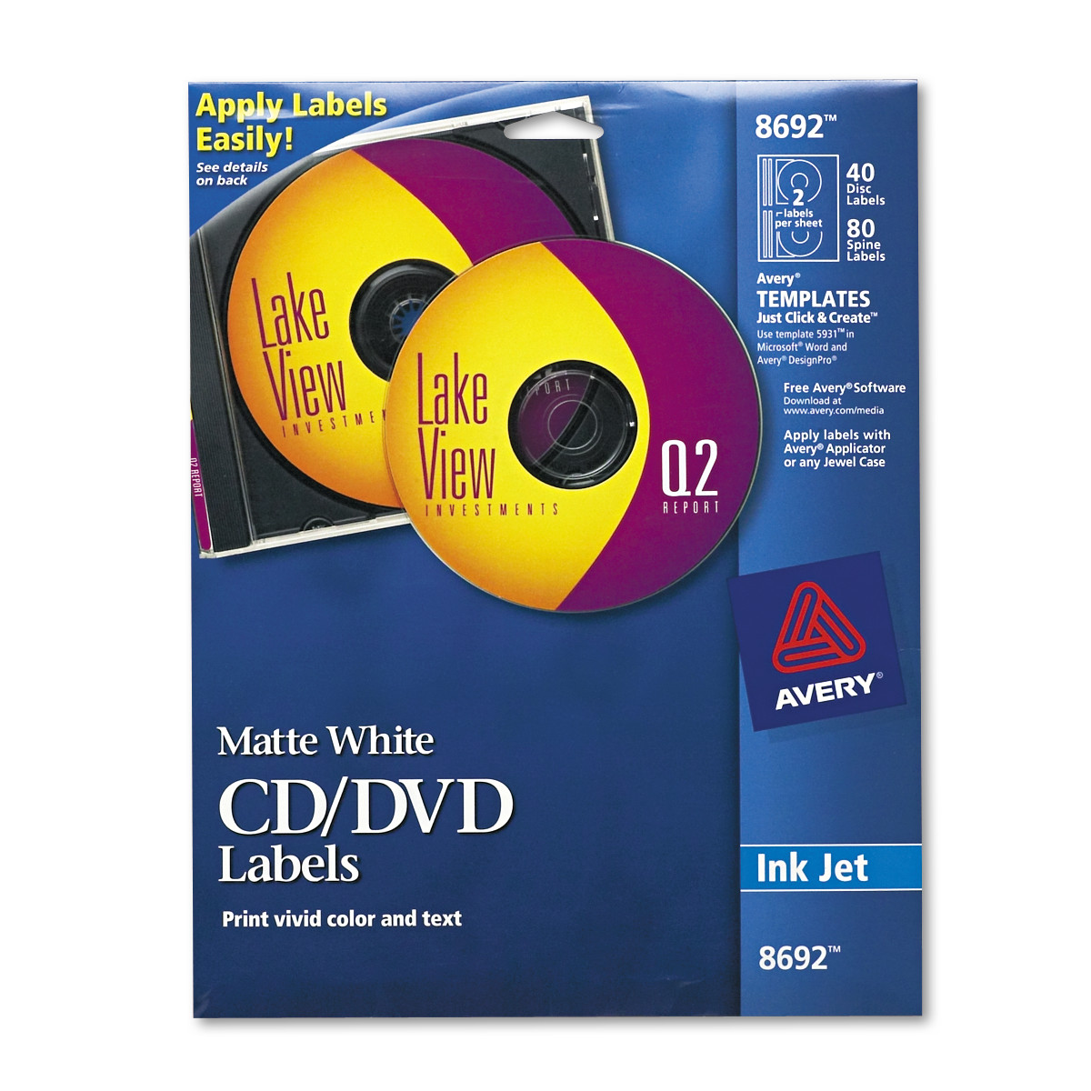 Avery Inkjet Cd Labels Matte White 40pack Walmart
