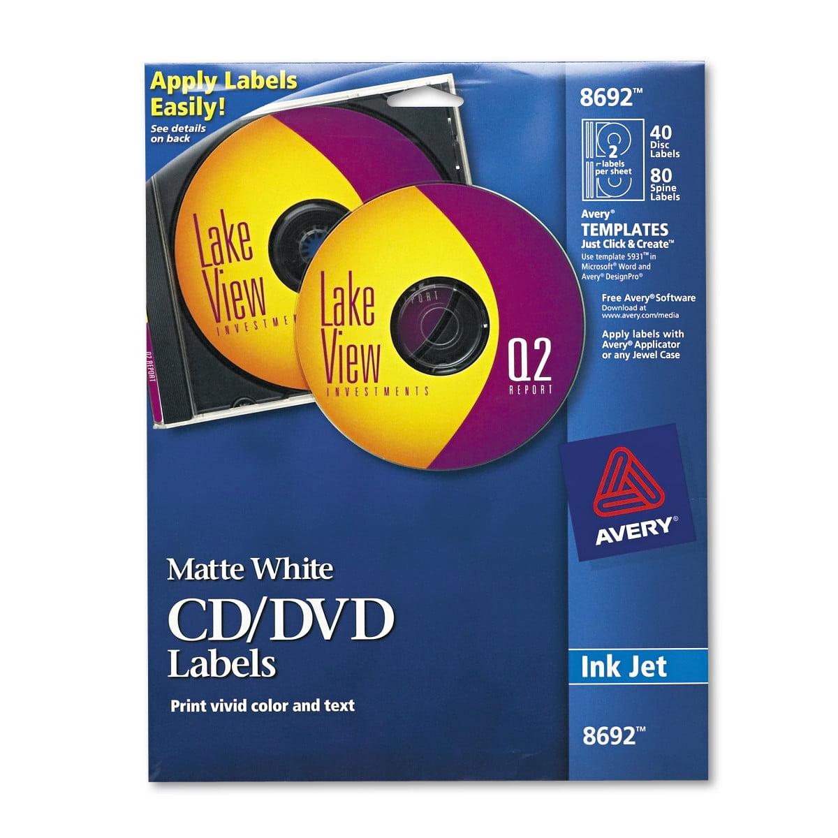 avery inkjet cd labels matte white 40pack walmartcom