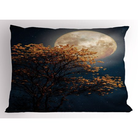 Moon Pillow Sham Beautiful Retro Tree With Blooming Yellow Flowers Elements From Milky Way Galaxy  Decorative Standard King Size Printed Pillowcase  36 X 20 Inches  Dark Blue Orange  By Ambesonne