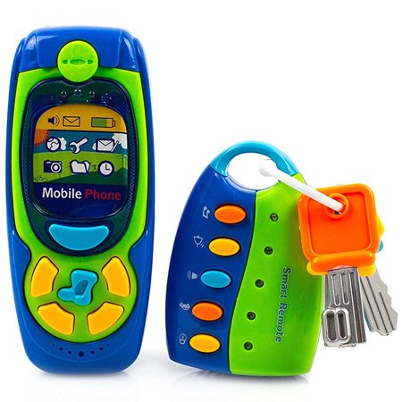 Toysery Cell Phone and Key Toy Set for Kids - Pretend Play Electronic Learning and Education Phone
