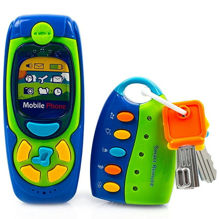 - Toysery Cell Phone and Key Toy Set for Kids - Pretend Play Electronic Learning and Education Phone Toys